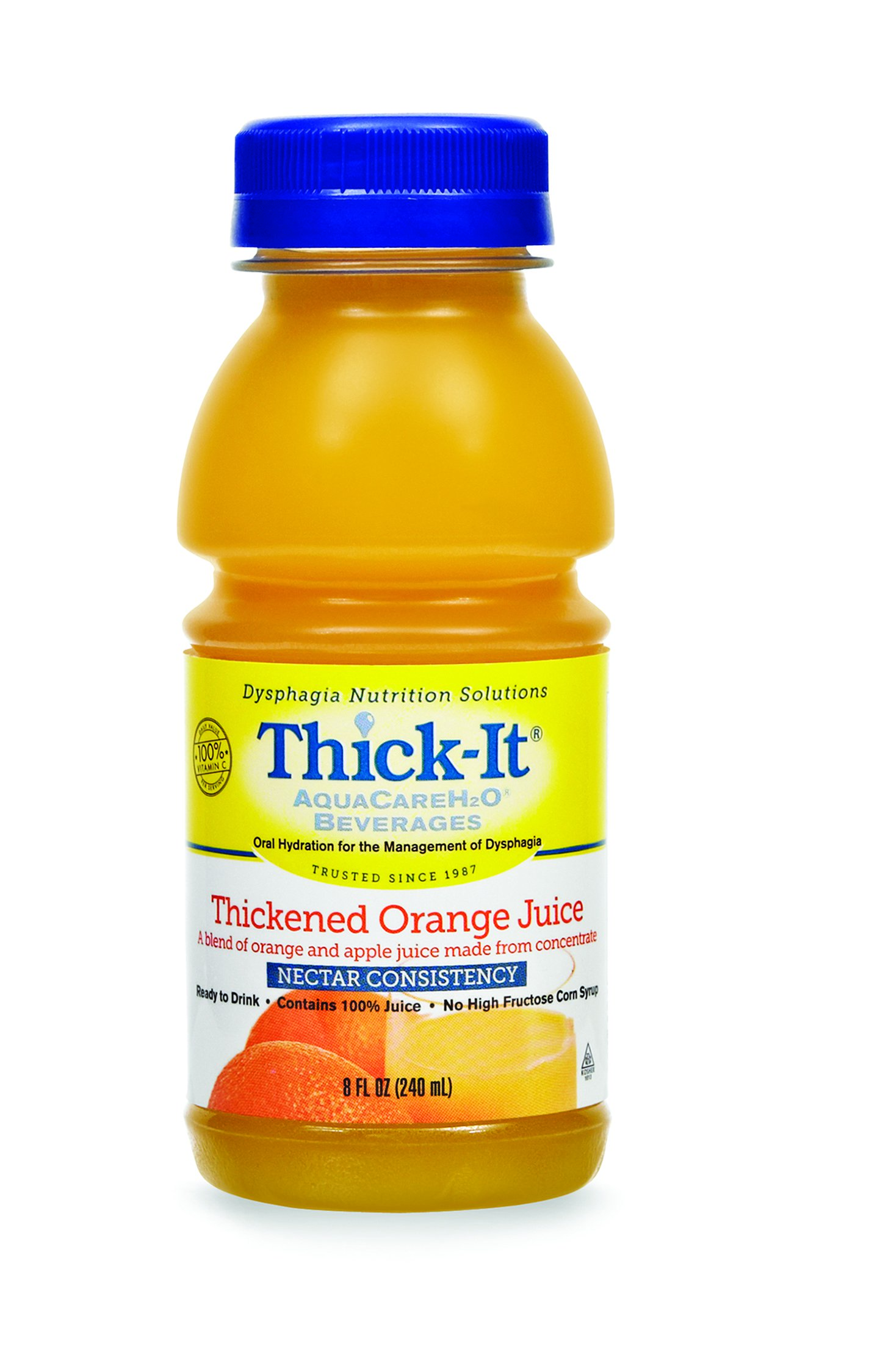 Thick-It AquaCareH2O Thickened Beverage 8 oz. Bottle Orange Flavor Ready to Use Nectar Consistency, B476-L9044 - EACH