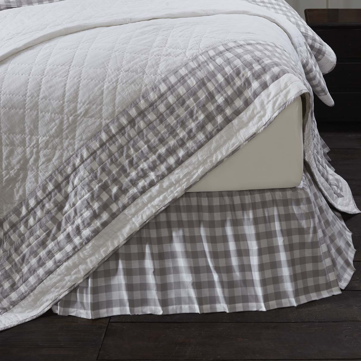 Annie Buffalo Grey Check Twin Bed Skirt 39x76x16