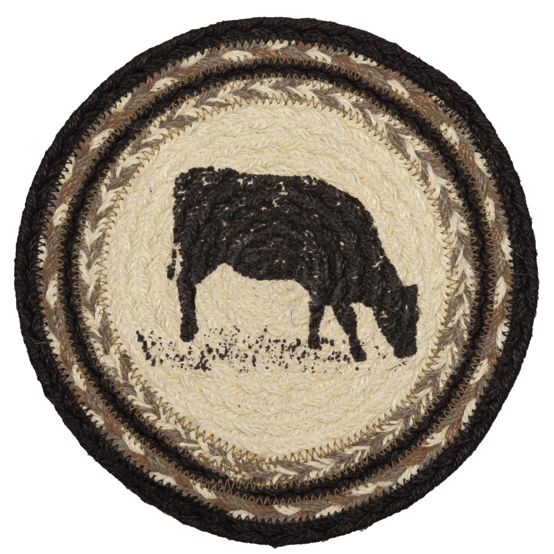 Sawyer Mill Charcoal Cow Jute Trivet 8