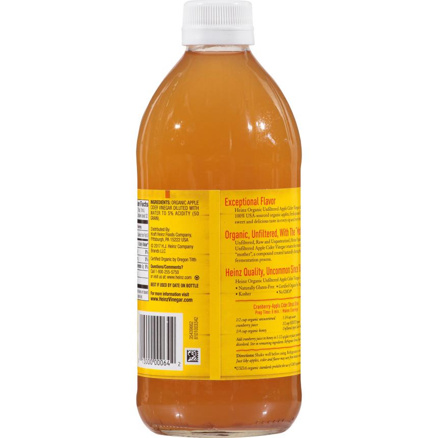 Heinz Organic Unfiltered Raw/Unpasteurized Apple Cider Vinegar 16 fl oz Bottle