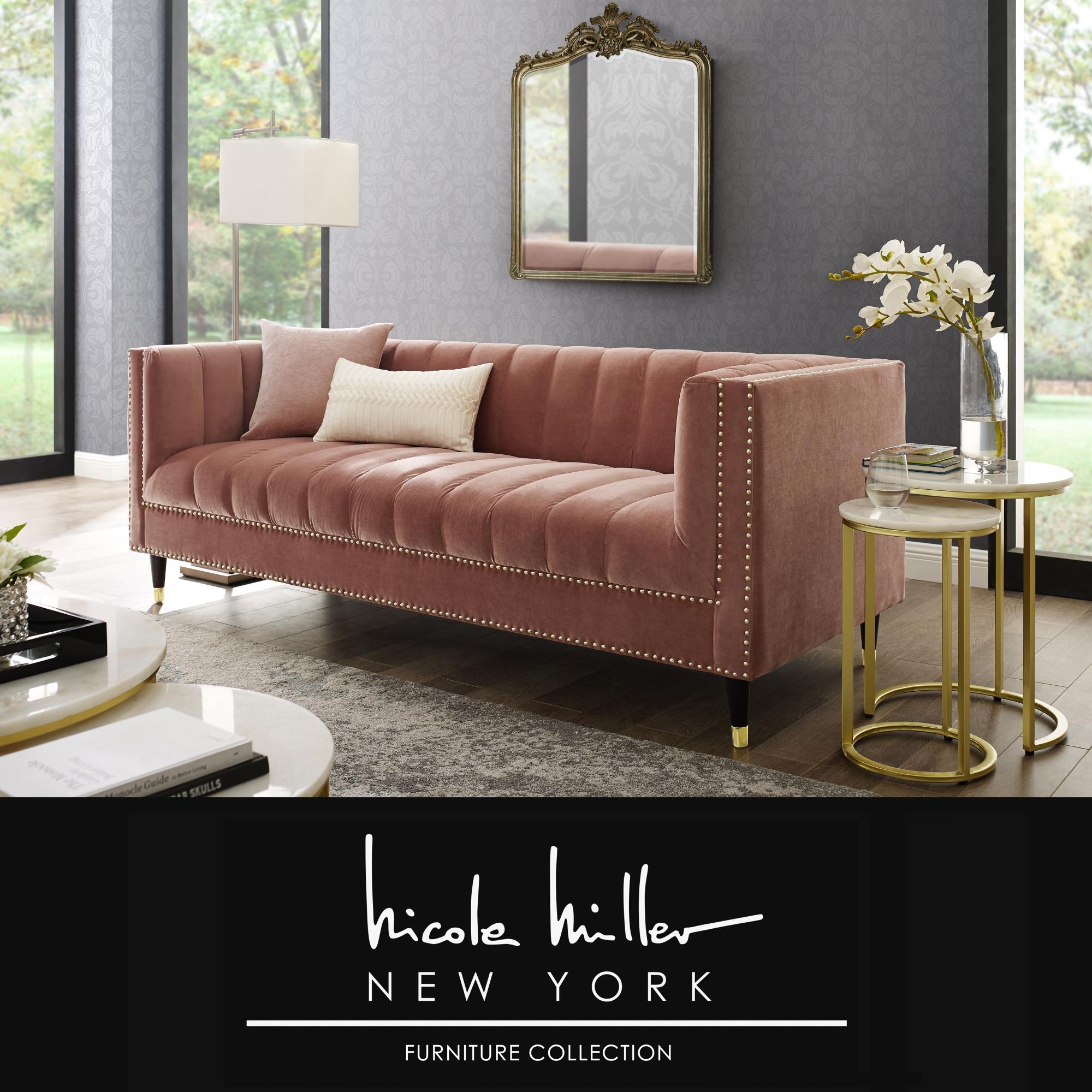 Nicole Miller Blush/Gold Velvet Sofa Line Stitch Tufted Gold Nailhead Trim and Tapered Gold Leg Tip