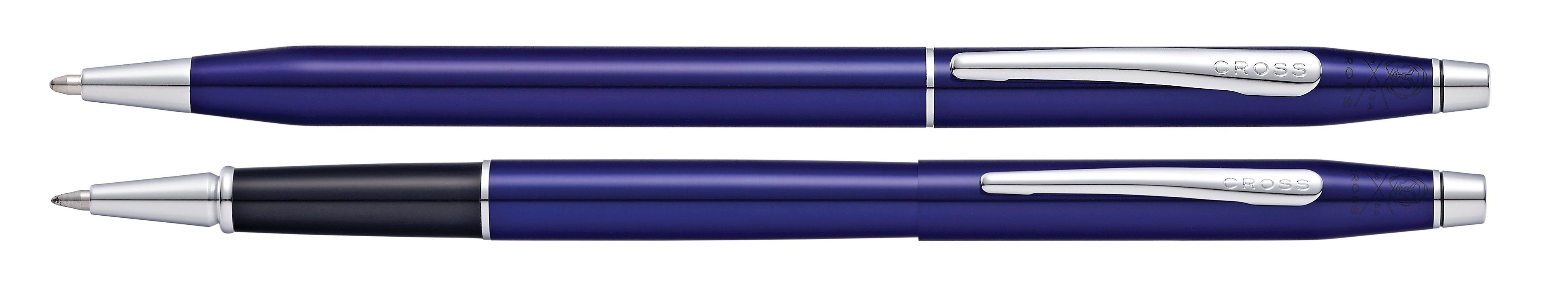Classic Century Translucent Blue Lacquer Ballpoint and Rollerball Pen Set