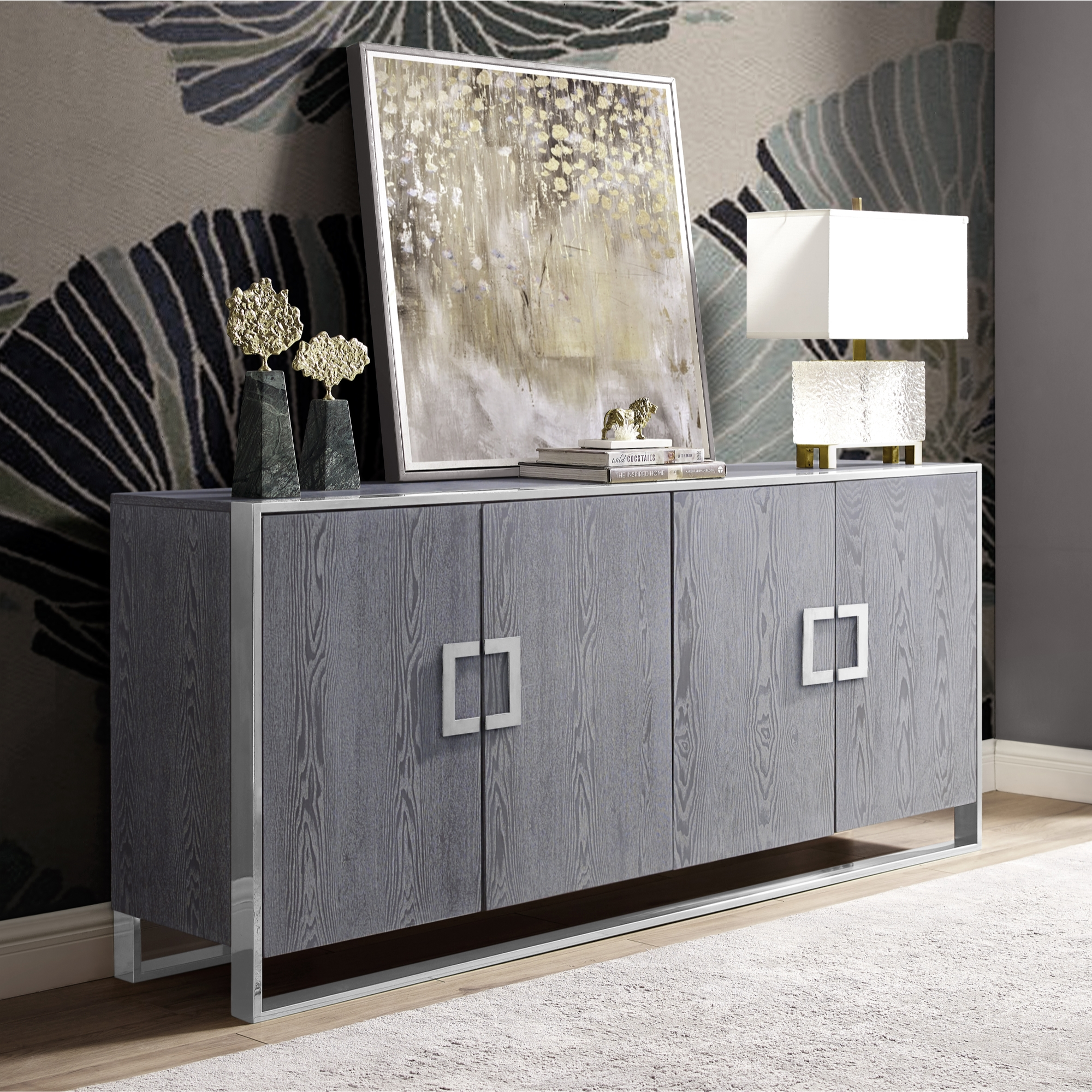 Inspired Home Ash Grey Sideboard 4 Doors Polished Chrome Handle and Leg Tip