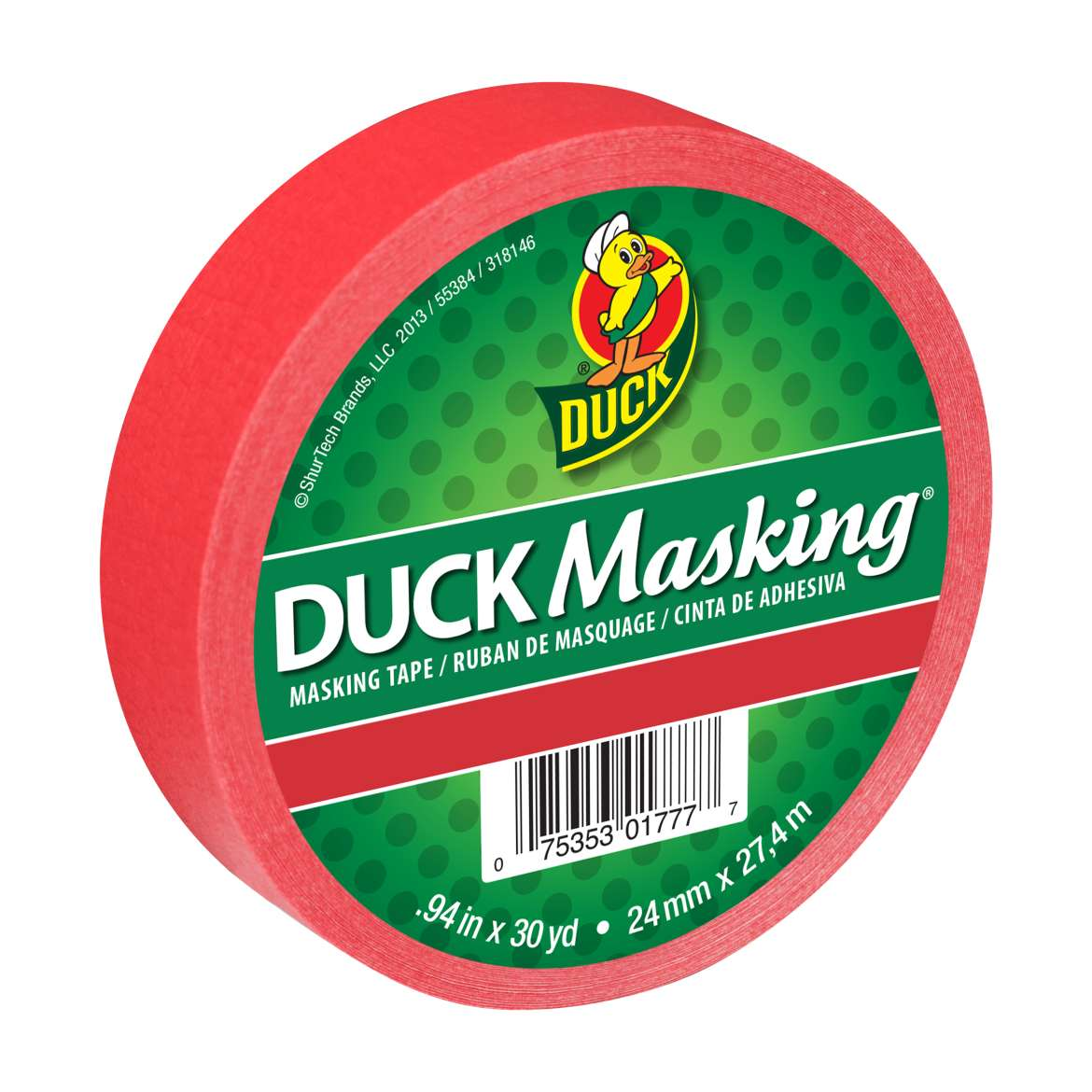 Duck Masking® Color Masking Tape - Red, .94 in. x 30 yd. Image