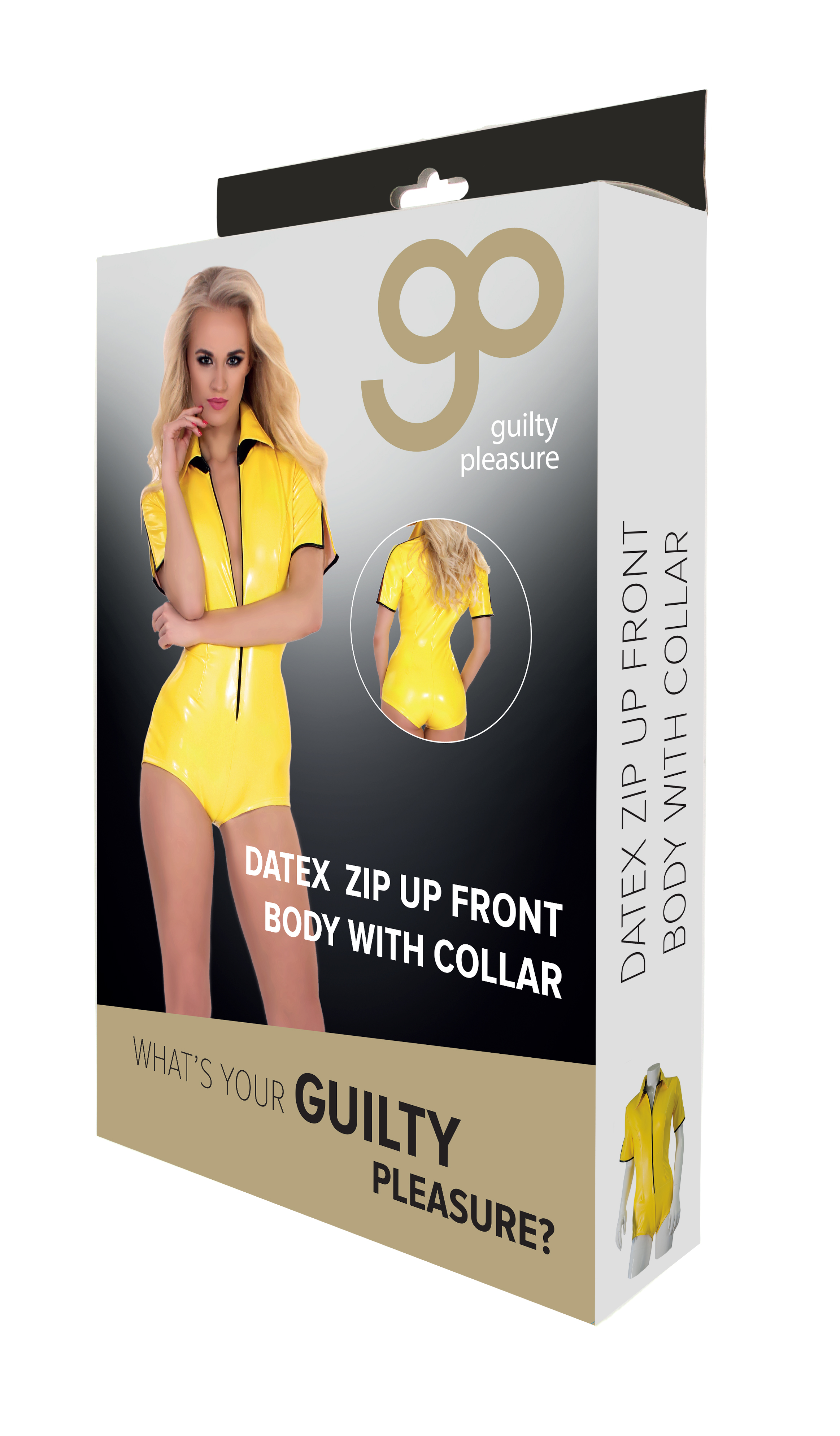 Guilty Pleasure - Datex Zip Up Front Body with Collar - M - Yellow