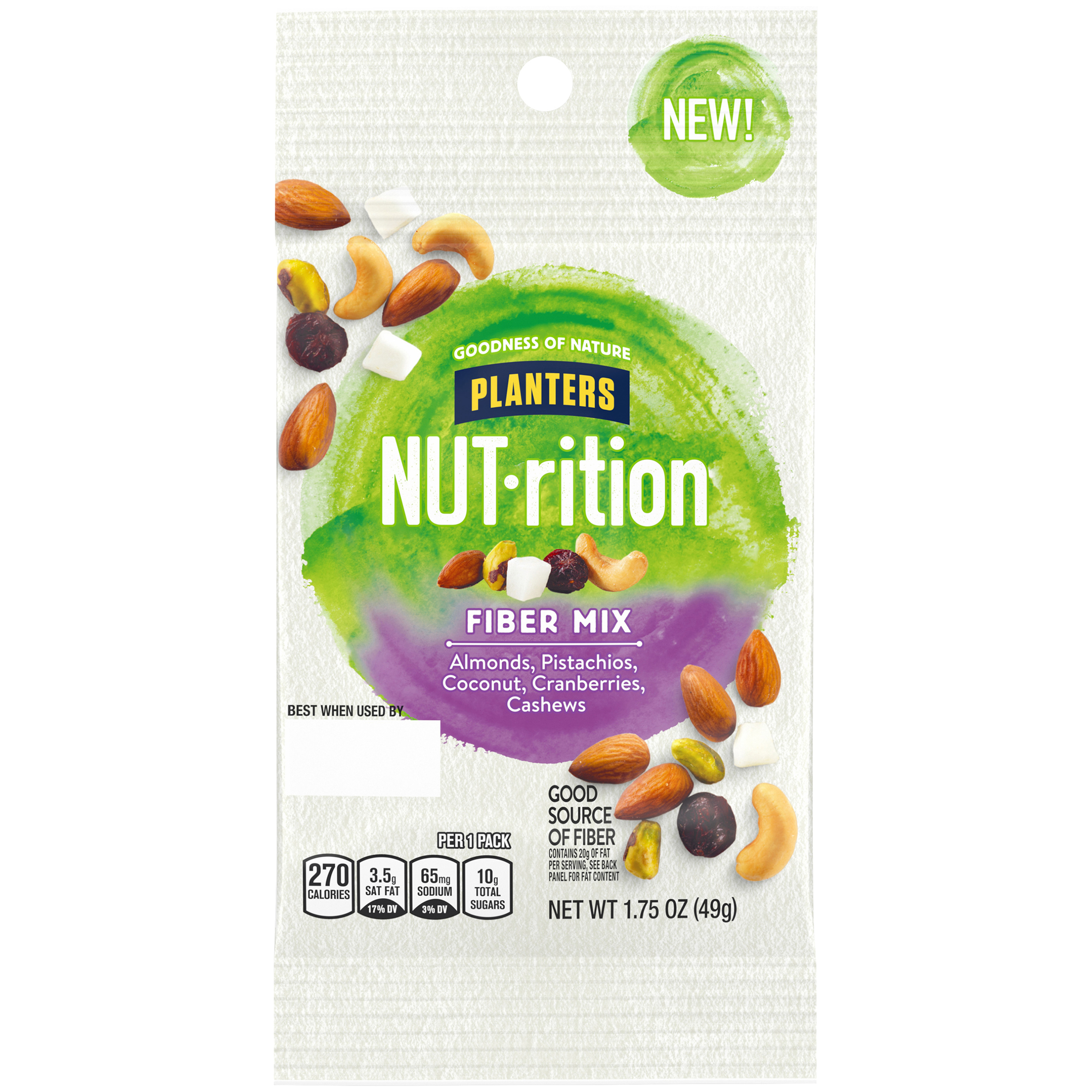 NUTrition Fiber Mix Mixed Nuts, 1.7 oz Pouch