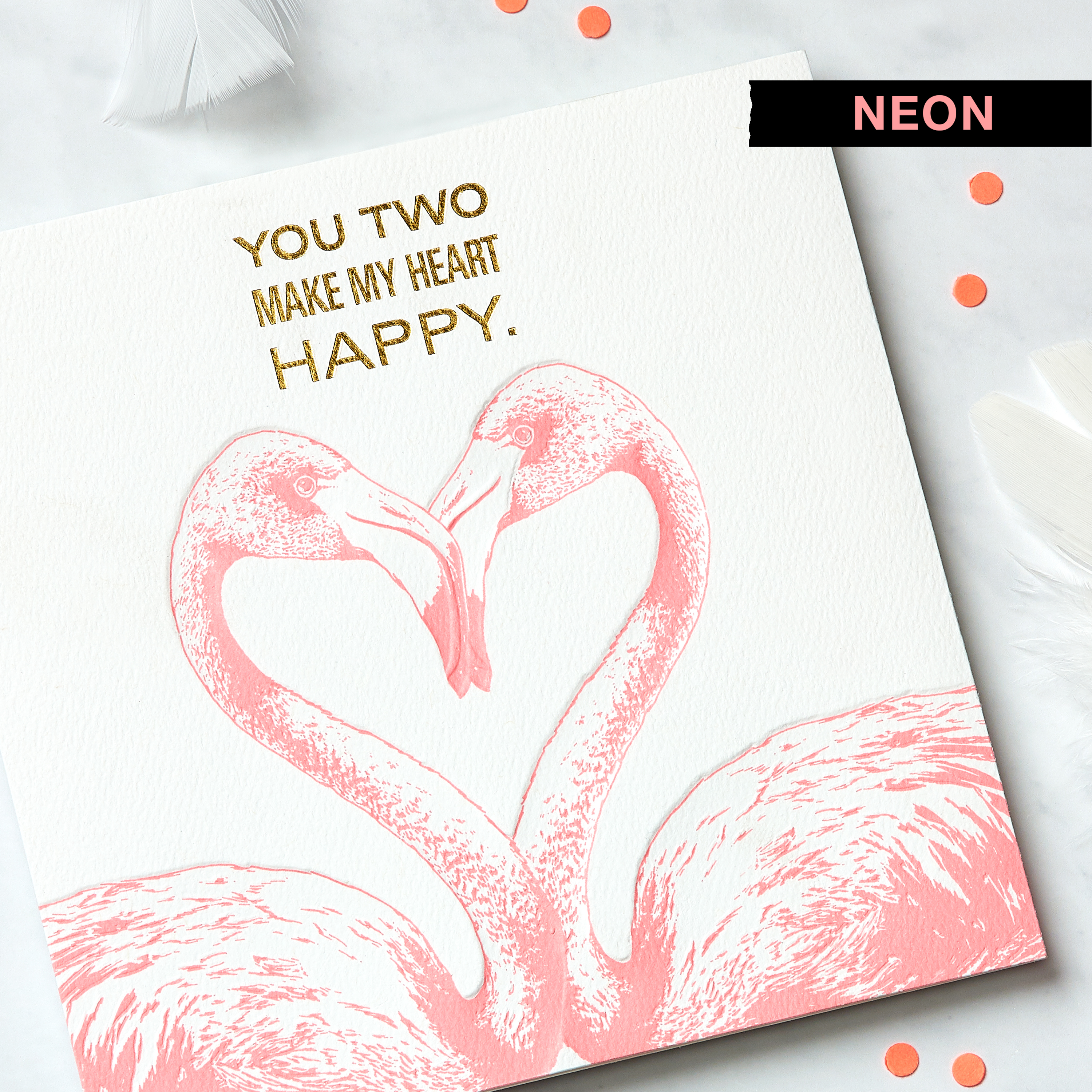 Flamingos Greeting Card for Couple - Engagement, Wedding, Anniversary image