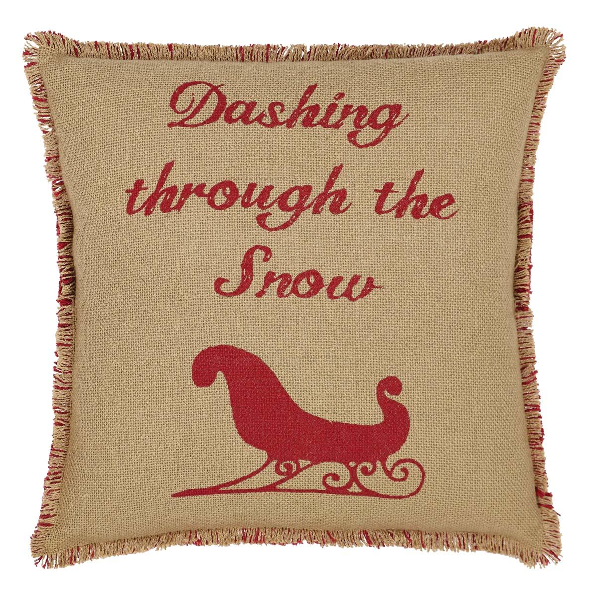Natural & Red Burlap Sleigh Pillow 16x16
