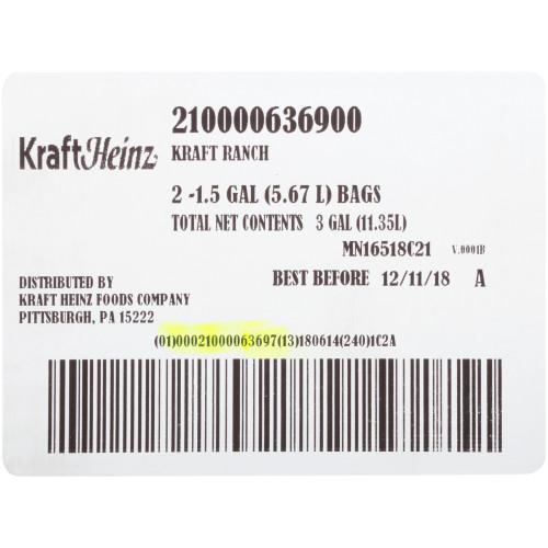 KRAFT Ranch Salad Dressing, 1.5 gal. Jugs (Pack of 2)