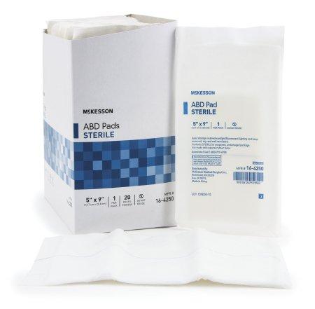 Abdominal Pad, McKesson, NonWoven Cellulose 5 X 9 Inch Rectangle Sterile, 16-4250 - Case of 400