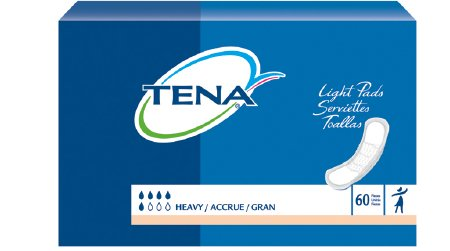 TENA Heavy Bladder Control Pad 13 Inch Length Heavy Absorbency Dry-Fast Core One Size Fits Most Unisex Disposable, 41509 - Pack of 60