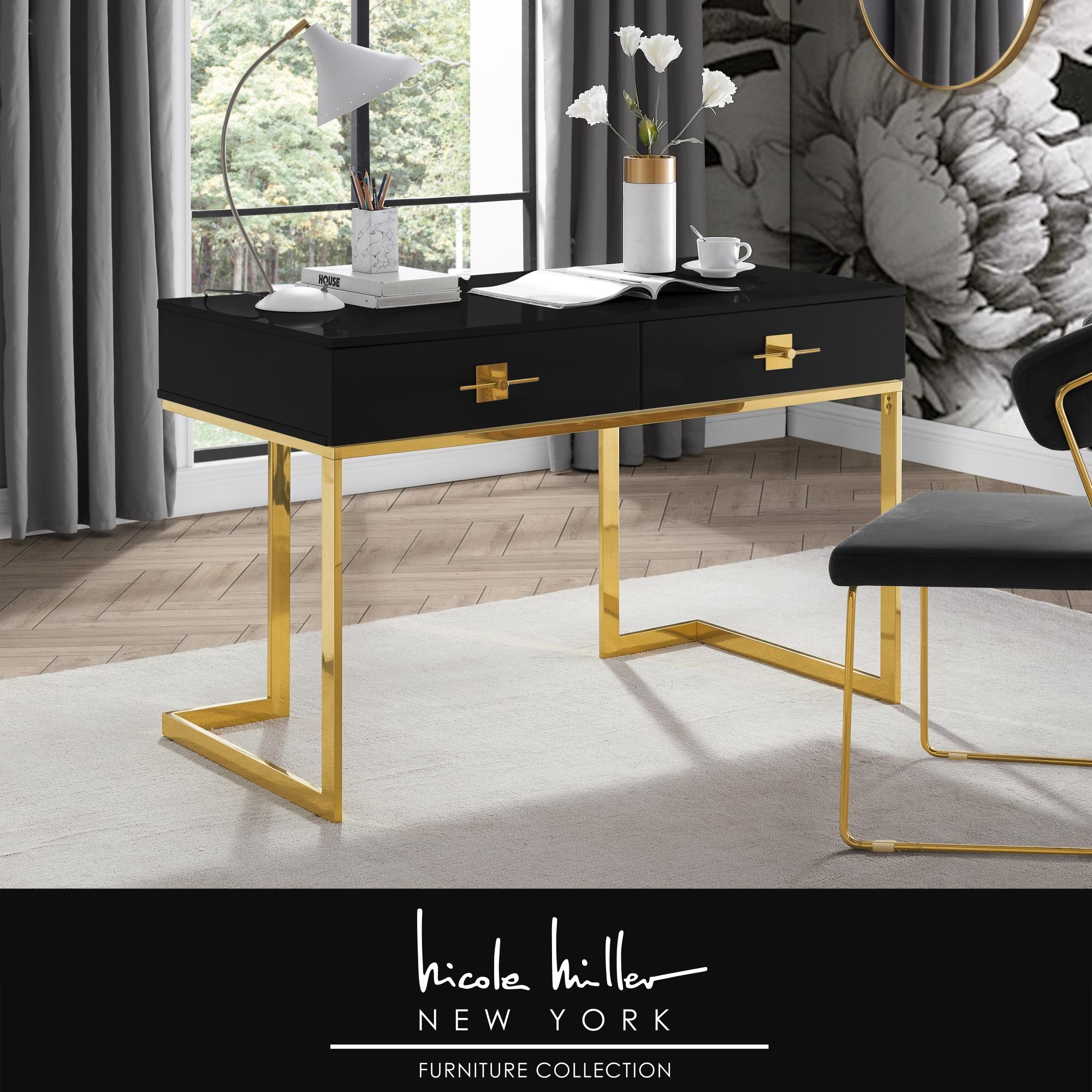 Nicole Miller Black/Gold Desk 1 Drawer 3 Shelves Hight Gloss Lacquer Finish