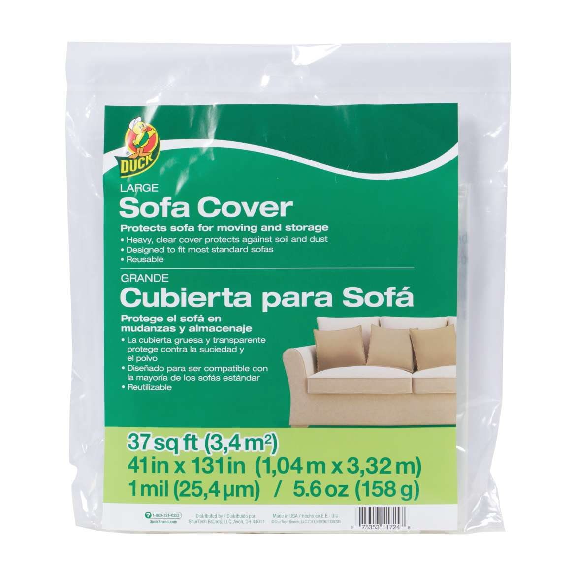 Duck® Brand Large Sofa Cover - Clear, 41 in. x 131 in. Image