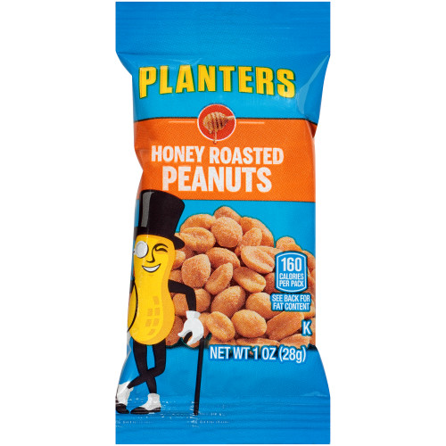 Planters Honey Roasted Peanuts, 144 ct Casepack, 1 oz Packs