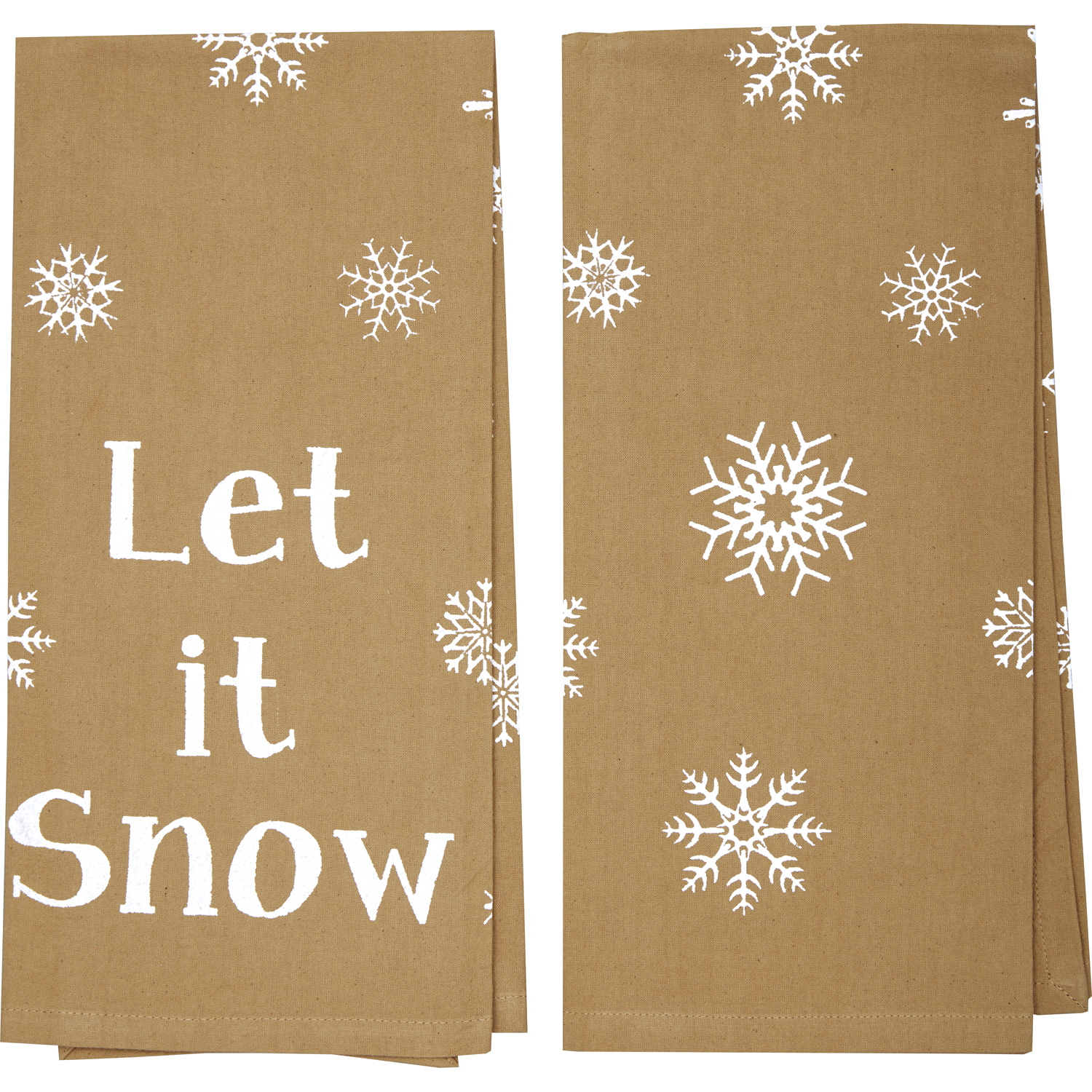 Snowflake Burlap Natural Let It Snow Tea Towel Set of 2 19x28