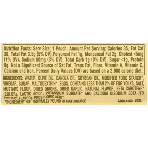 KRAFT Single Serve Mayonnaise with Olive Oil Salad Dressing, 0.44 oz. Packets (Pack of 200)