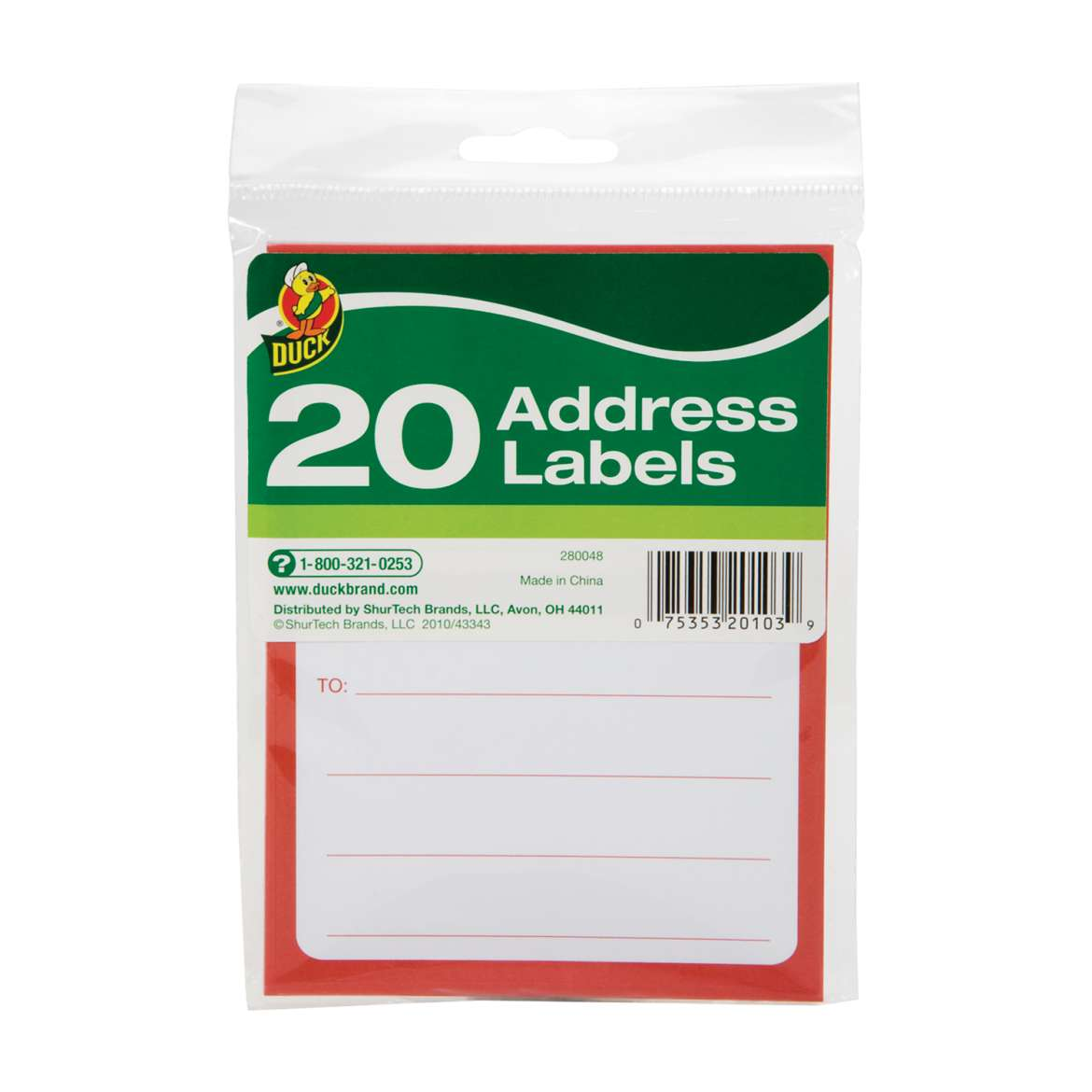Duck® Brand Address Labels, 20 pk, 3.5 in. x 4.5 in. Image