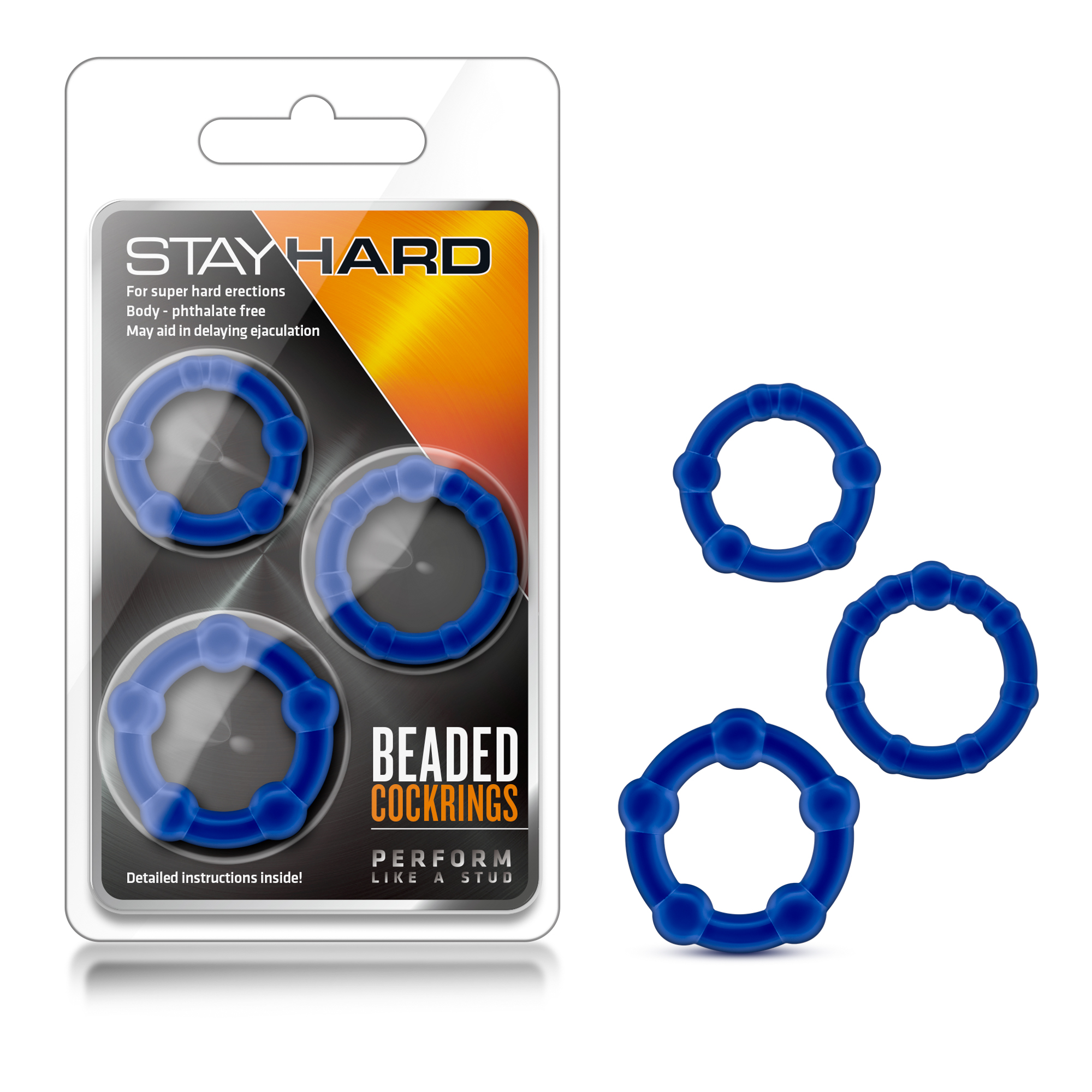 Stay Hard - Beaded Cockrings - Blue