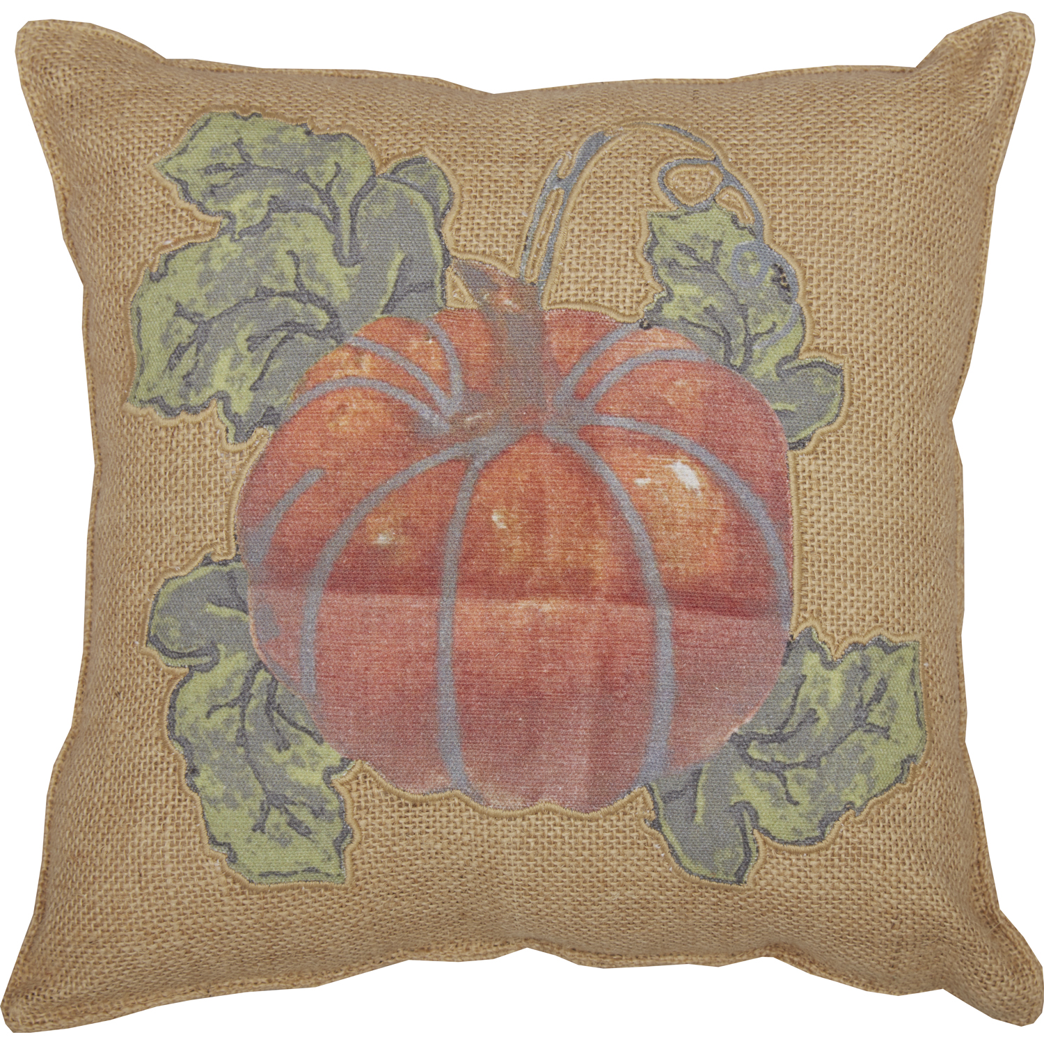 Jute Burlap Natural Harvest Garden Pumpkin Pillow 12x12