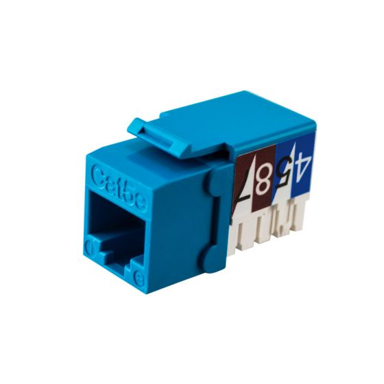 Blue Cat5e 90-Deg Keystone Jack Wave Electronics
