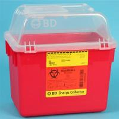 Sharps Container BD Nestable 10 X 7 X 10 Inch 8 Quart Red Funnel Lid, 305344 - Case of 24