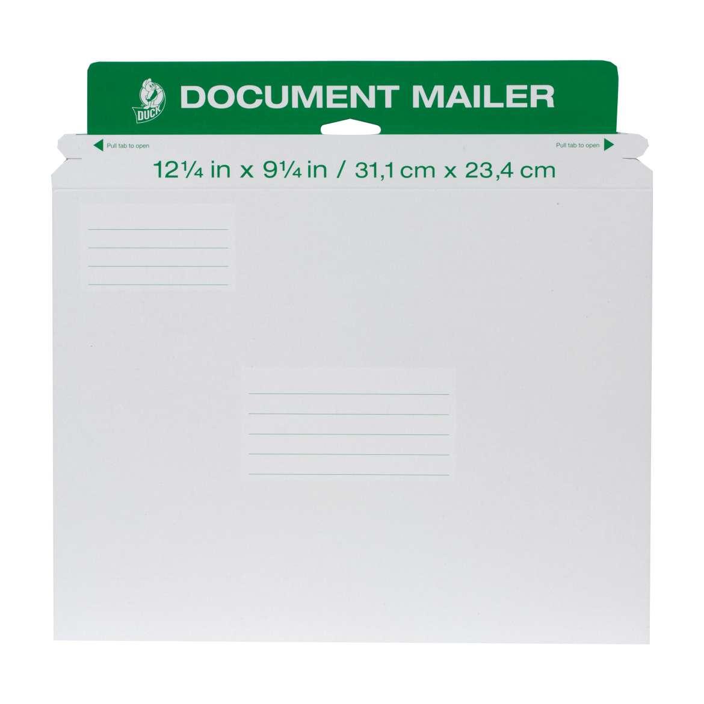 Duck® Brand Rigid Document Mailer - White, 12.25 in. x 9.25 in. Image