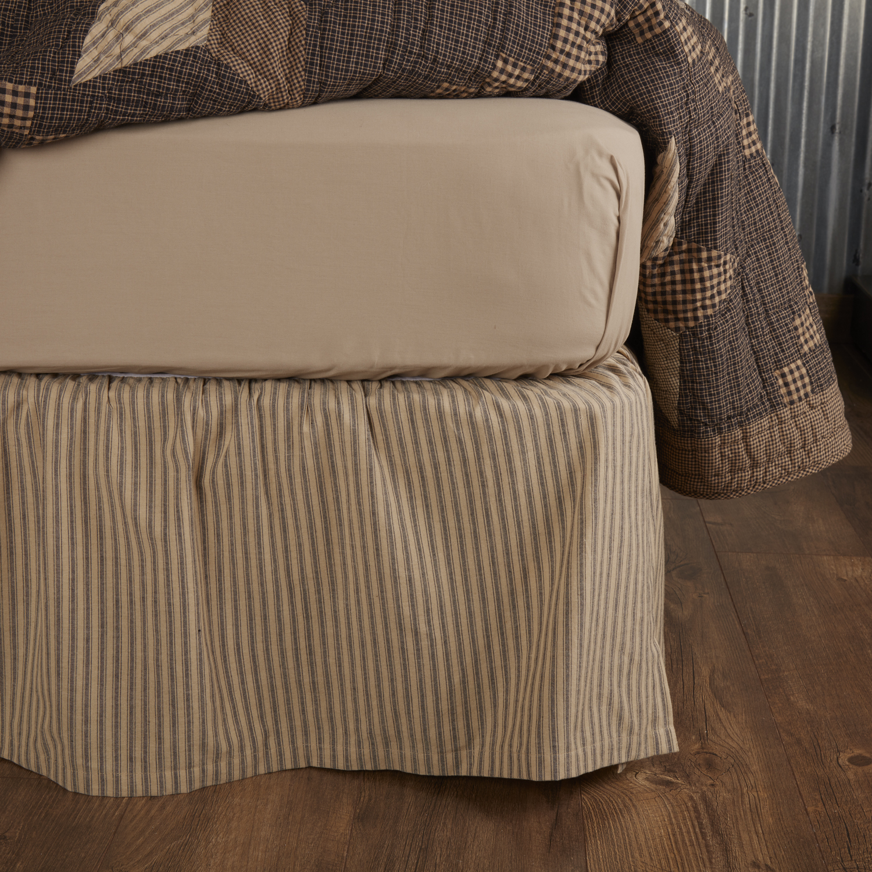 Farmhouse Star Ticking Stripe Twin Bed Skirt 39x76x16