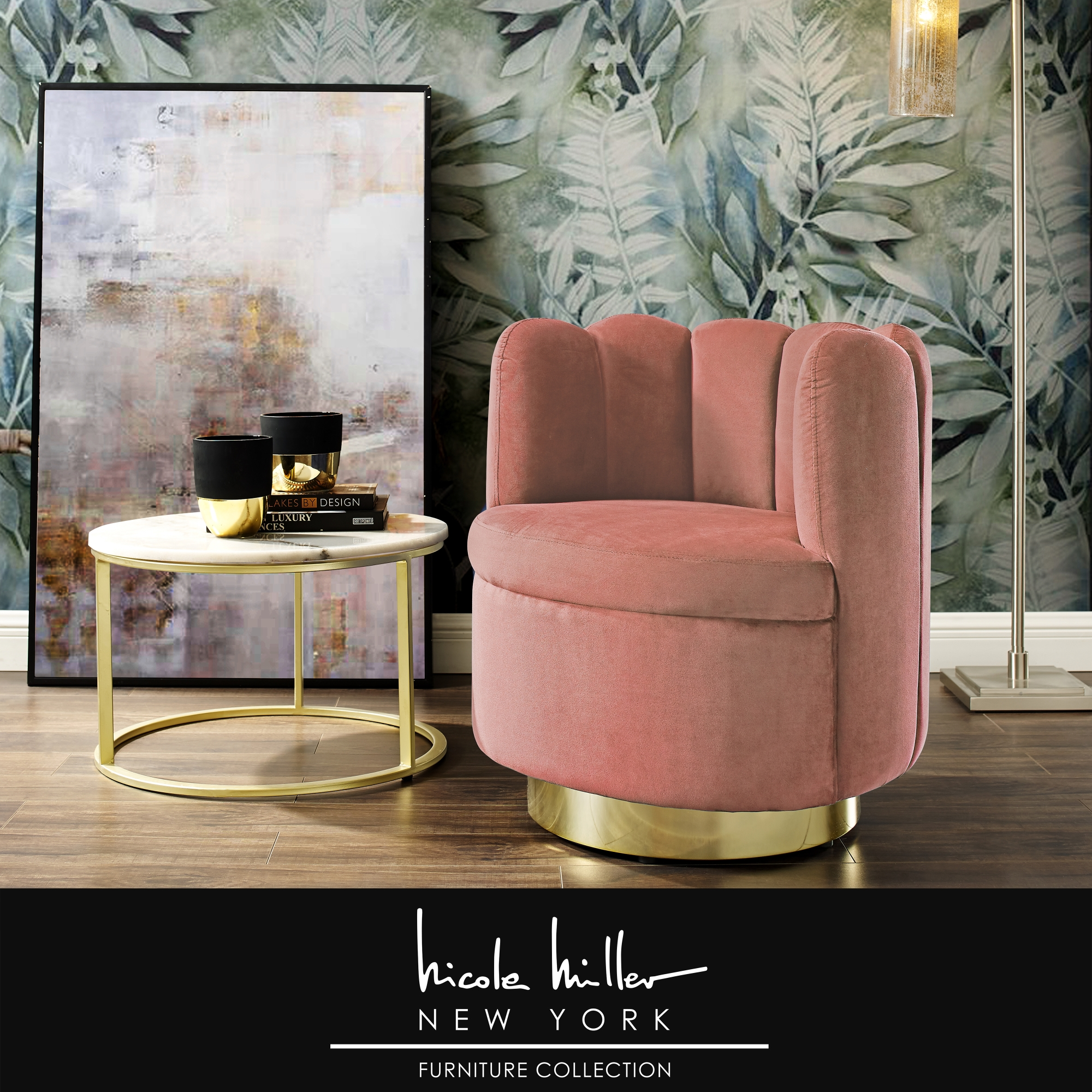 Nicole Miller Blush/Gold Velvet Accent Chair Upholstered Armless Channel Tufted Back, Stainless Steel Base