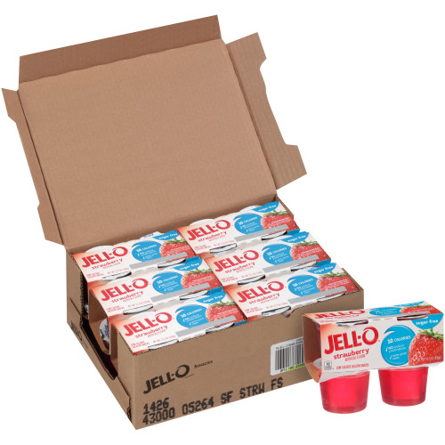 JELL-O Strawberry Sugar Free Gelatin, 3.1 oz. Cups (4/6 Count)