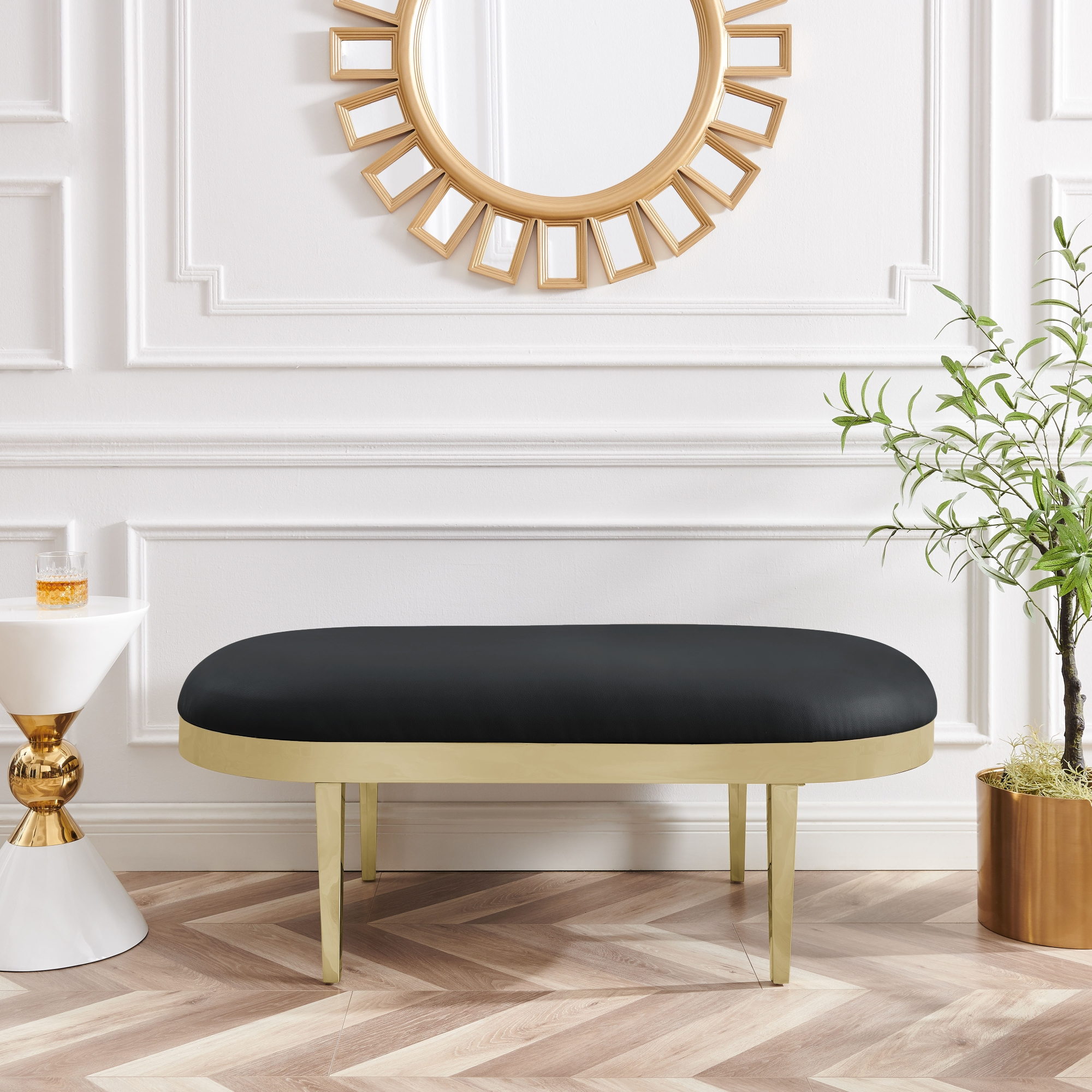 Inspired Home Black Leather PU Bench Upholstered Polished Legs