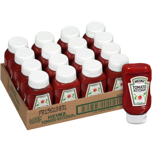 HEINZ Ketchup, 14 oz. Clear Inverted Bottles (Pack of 16)