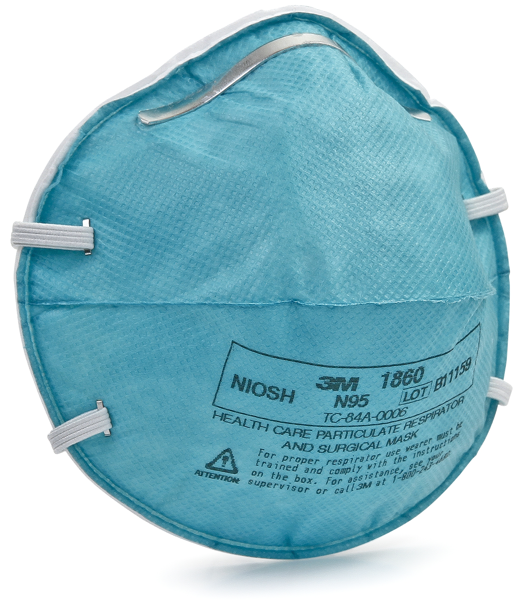 3M Particulate Respirator / Surgical Mask N95 Cup Elastic Strap One Size Fits Most Teal, 1860 - Case of 120