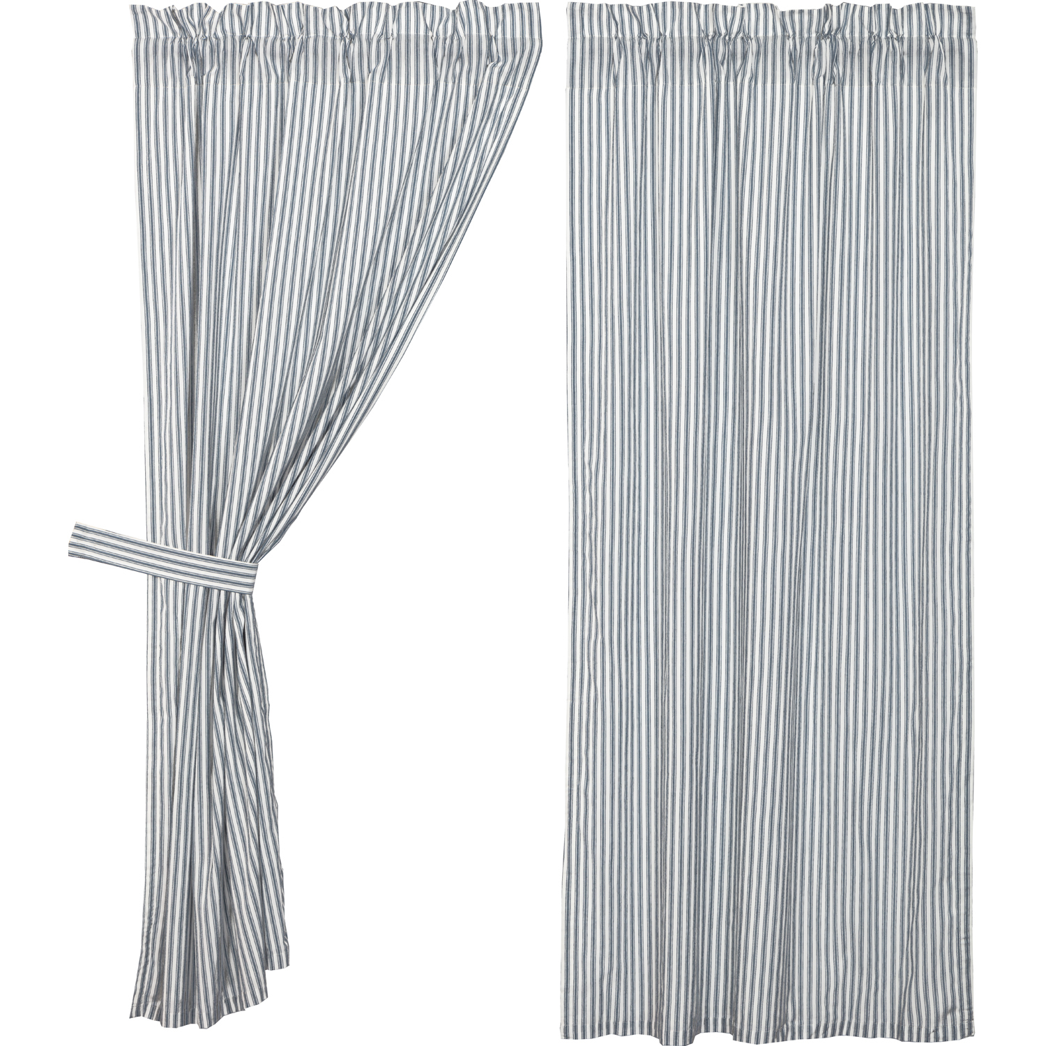 Sawyer Mill Blue Ticking Stripe Short Panel Set of 2 63x36