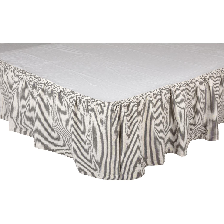 Hatteras Seersucker Blue Ticking Stripe Queen Bed Skirt 60x80x16