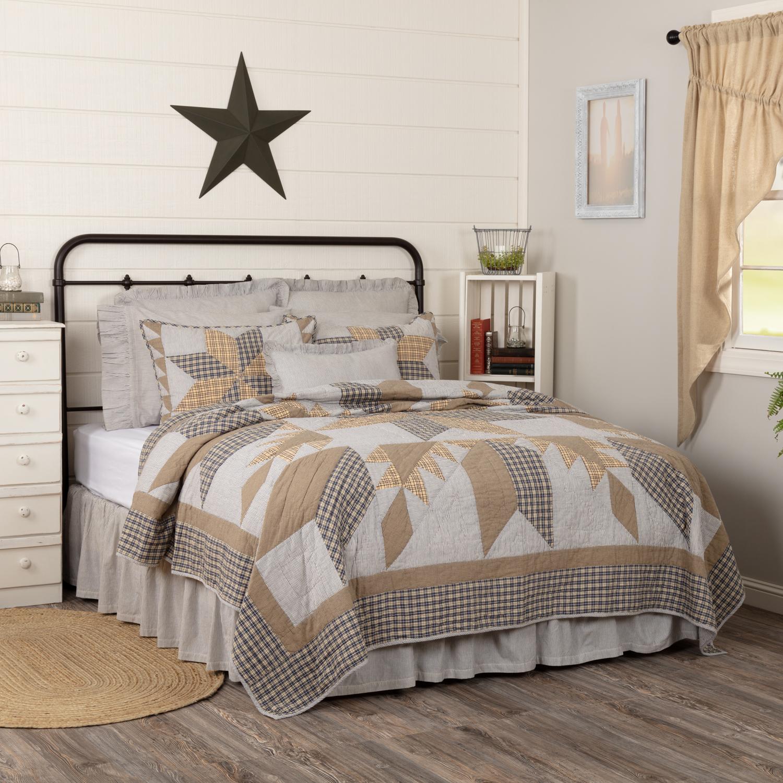 Dakota Star Farmhouse Blue California King Quilt 130Wx115L