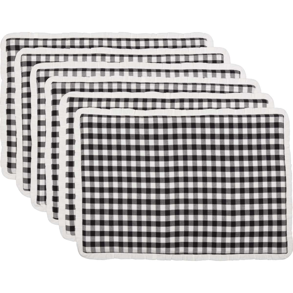 Emmie Black Placemat Set of 6 12x18