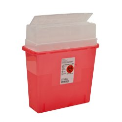 Sharps Container, Sharps-A-Gator 1-Piece 12-1/4 H X 11 W X 4-1/4 D Inch 5 Quart Translucent Red Horizontal Entry Lid, 31144010 - Case of 30