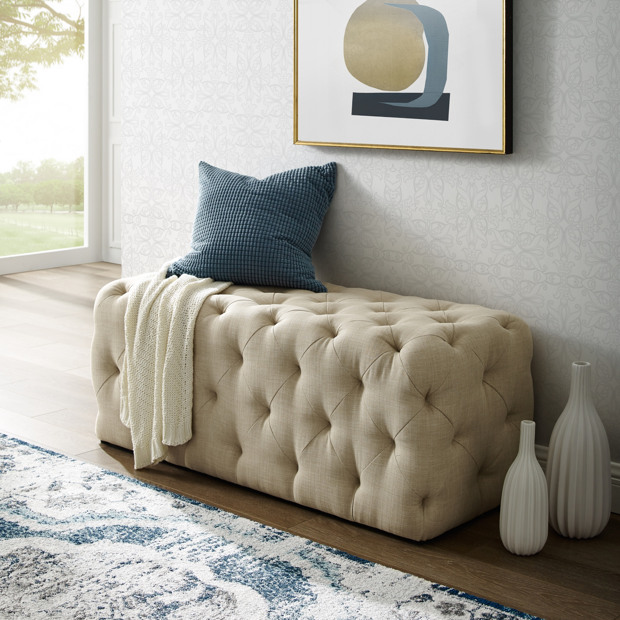 Inspired Home Beige Linen Bench Tufted Allover
