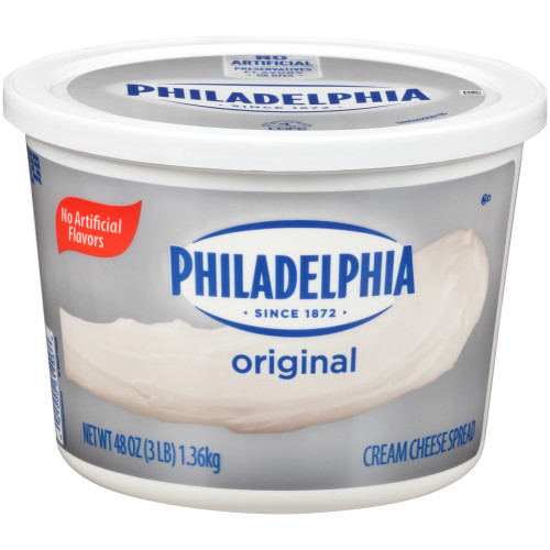 PHILADELPHIA Original Cream Cheese Spread, 3 lb. Tub (Pack of 6)