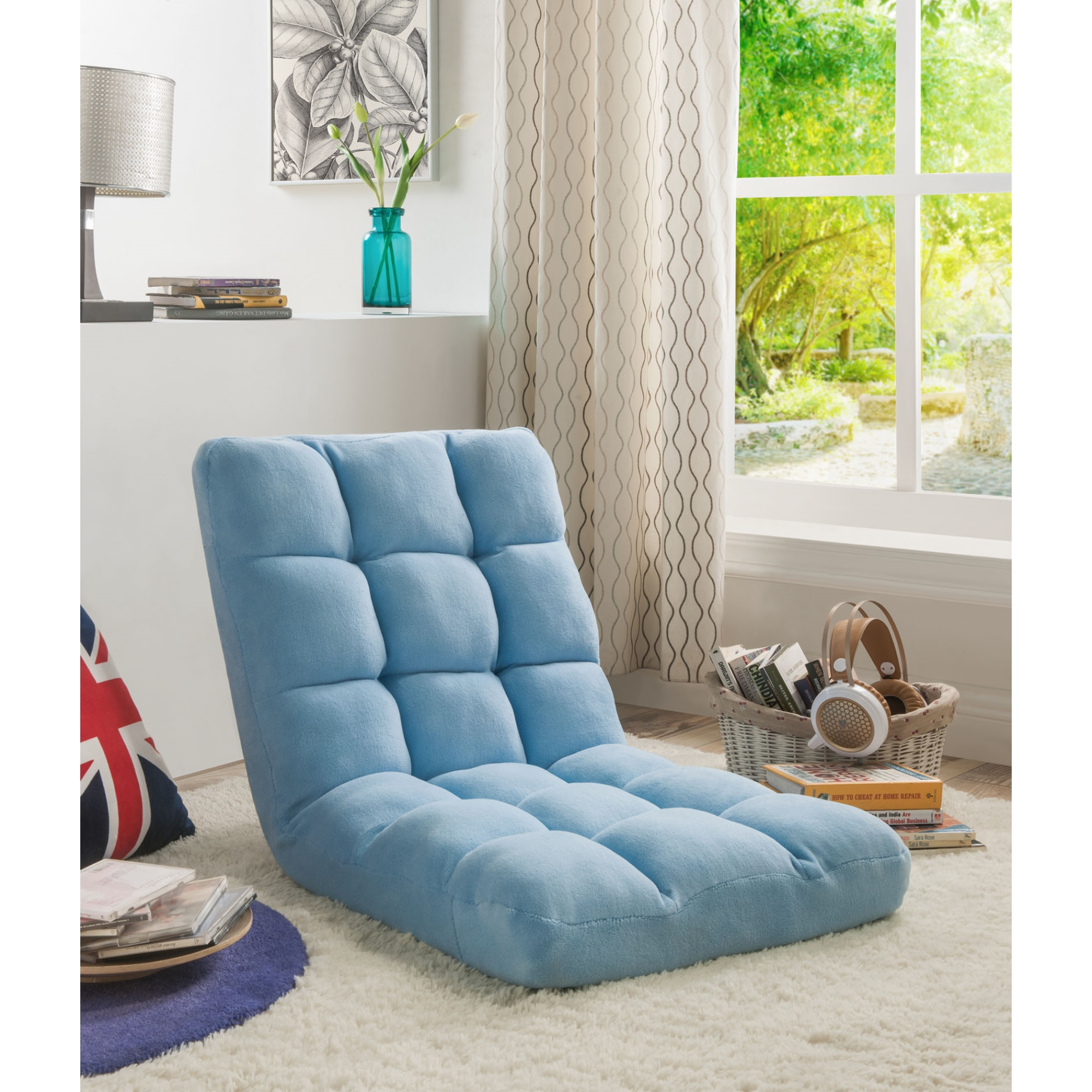 Loungie Blue Microplush Chair Foam Filling Steel Tube Frame