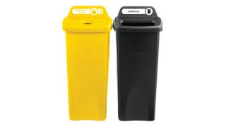 2018373-rcp-utility-refuse-recycling-series-untouchable-23gal-with-lid-bottles-cans-yellow-open-top-black-primary-group.tif
