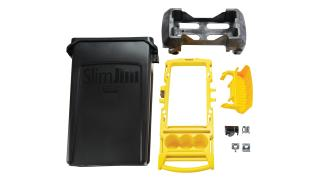 2032954-rcp-slim-jim-compact-cleaning-cart-yellow-23g-black-skim-jim-straight-on-exploded-view-1.tif