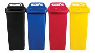 2018373-rcp-utility-refuse-recycling-series-untouchable-23gal-with-lid-paper-blue-bottles-cans-red-bottles-cans-yellow-open-top-black-primary-group.tif