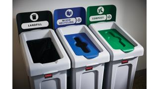 2007918-rcp-utility-refuse-slim-jim-recycling-solutions-23gal-3-stream-landfill-paper-compost-cafeteria-in-use-1.tif