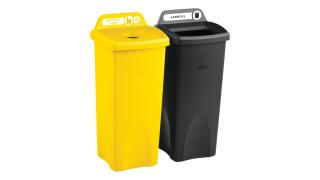 2018373-rcp-utility-refuse-recycling-series-untouchable-23gal-with-lid-bottles-cans-yellow-open-top-black-angle-group.tif