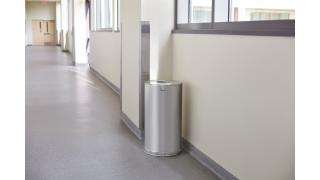 FGCC16SSSGLL-rcp-decorative-refuse-steel-receptacles-satin-stainless-steel-hallway-in-use.tif
