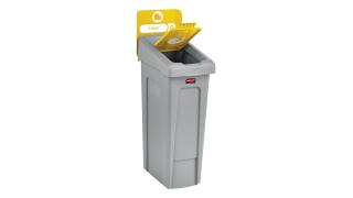 2007881-rcp-utility-refuse-slim-jim-recycling-solutions-base-lid-insert-bottles-cans-45-degree-billboard-yellow-angle.tif