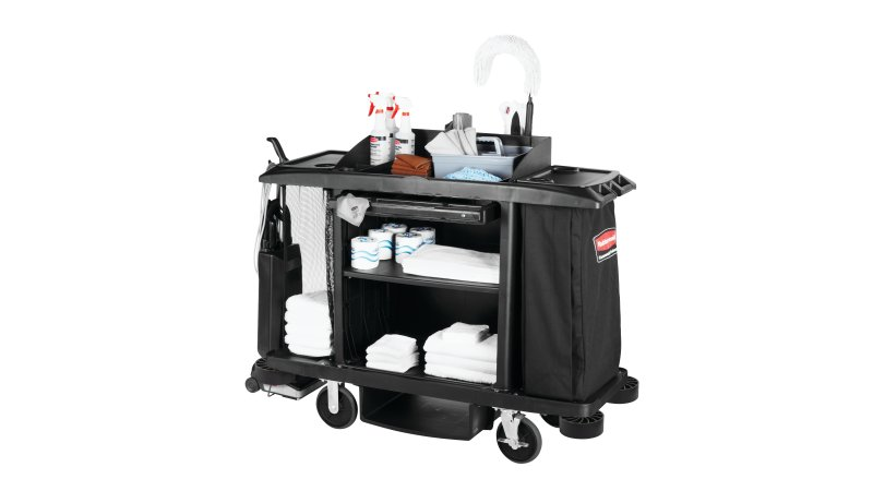 Executive Traditional Full Size Housekeeping Cart Black