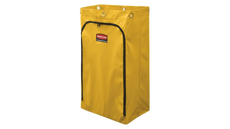 1966719-rcp-cleaning-cart-vinyl-bag-24-gal-traditional-yellow-silo-angle 1.tif