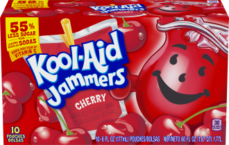 Kool-Aid Jammers Cherry Flavored Drink 60 fl oz Box (10-6 fl oz Pouches) image